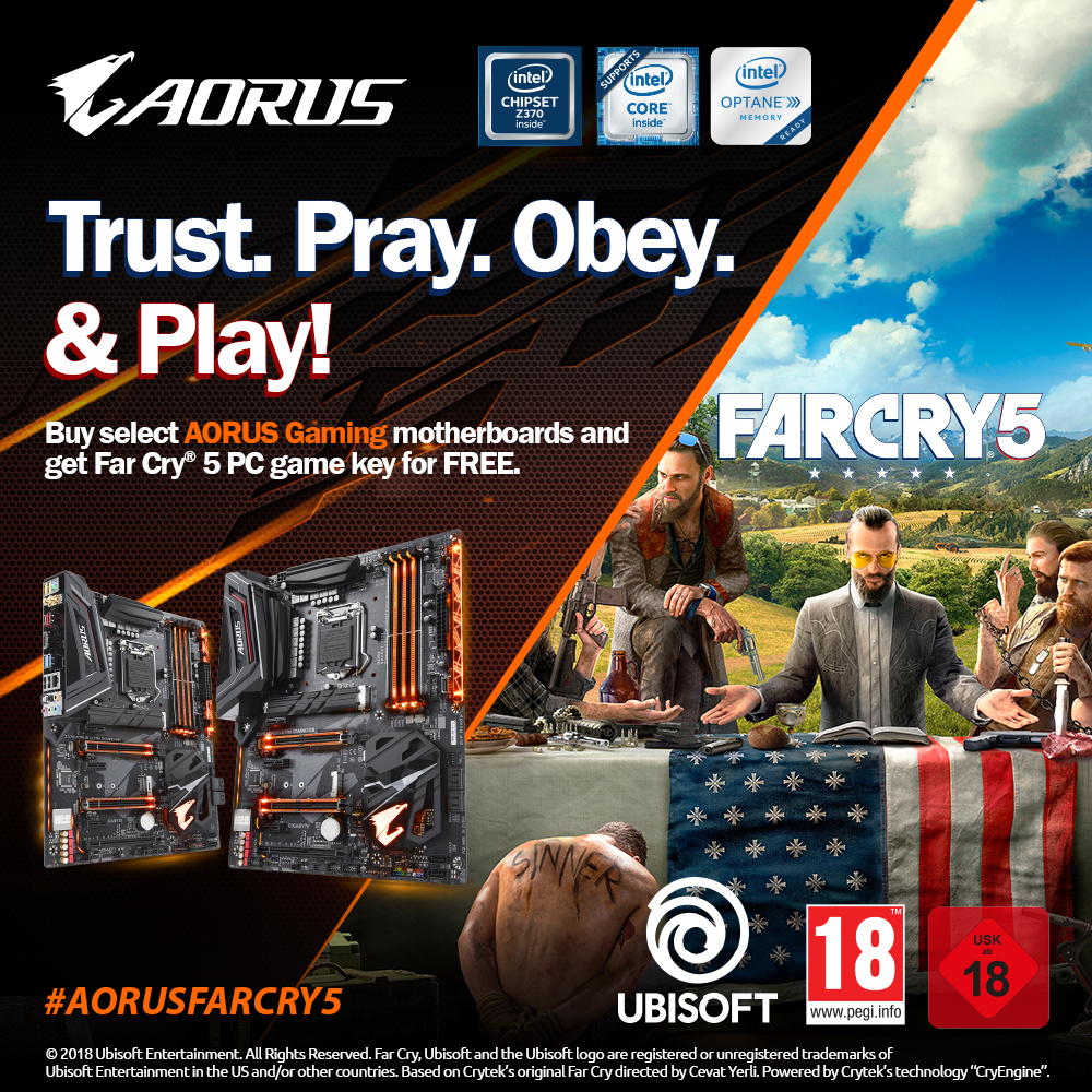 Compra placas base AORUS Gaming y llévate GRATIS* la clave del juego Far Cry 5 para PC.